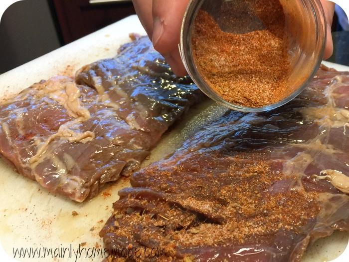 Homemade Fajita seasoning the meat