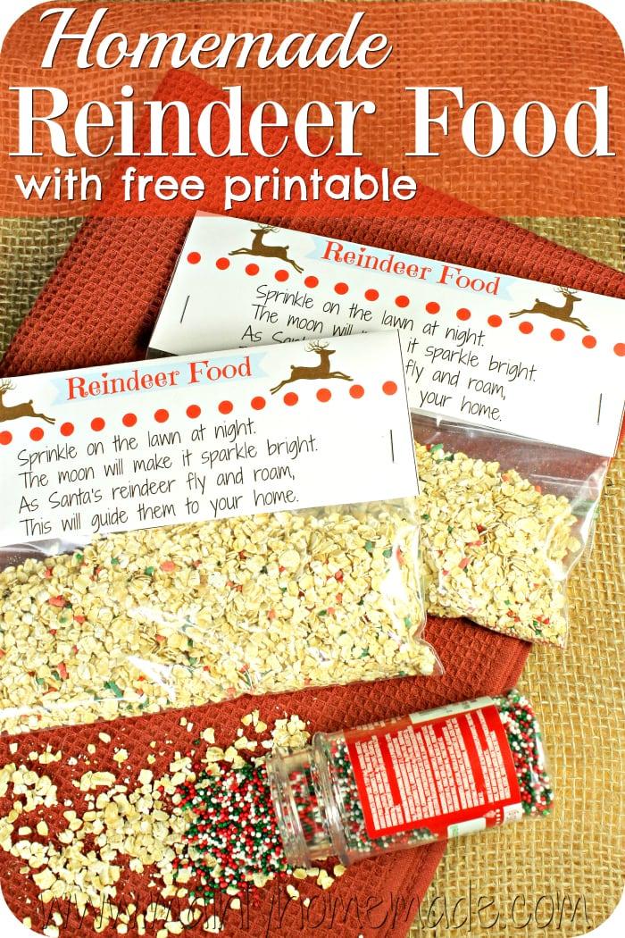 Homemade reindeer Food and printable