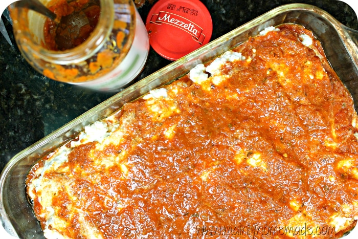 Ravioli Bake Sauce Layer