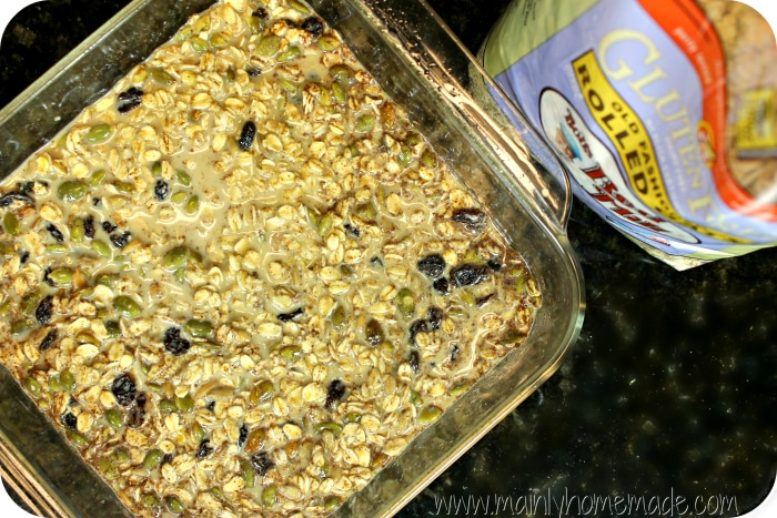 gluten free baked oatmeal bars in a dish