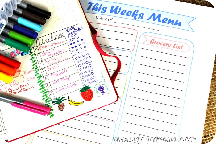 Bullet Journal to meal Plan Free Printable