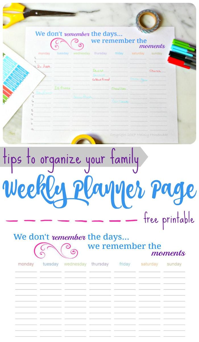 Weekly Planner Page Printable
