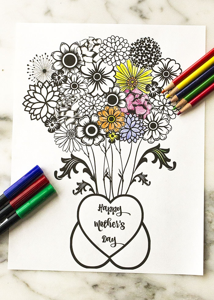 Mother's Day Printable Coloring Page